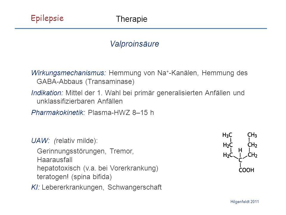 Epilepsie Hilgenfeldt 2011 Therapie Valproinsäure Wirkungsmechanismus: Hemmung von Na + -Kanälen, Hemmung des GABA-Abbaus (Transaminase) Indikation: Mittel der 1.