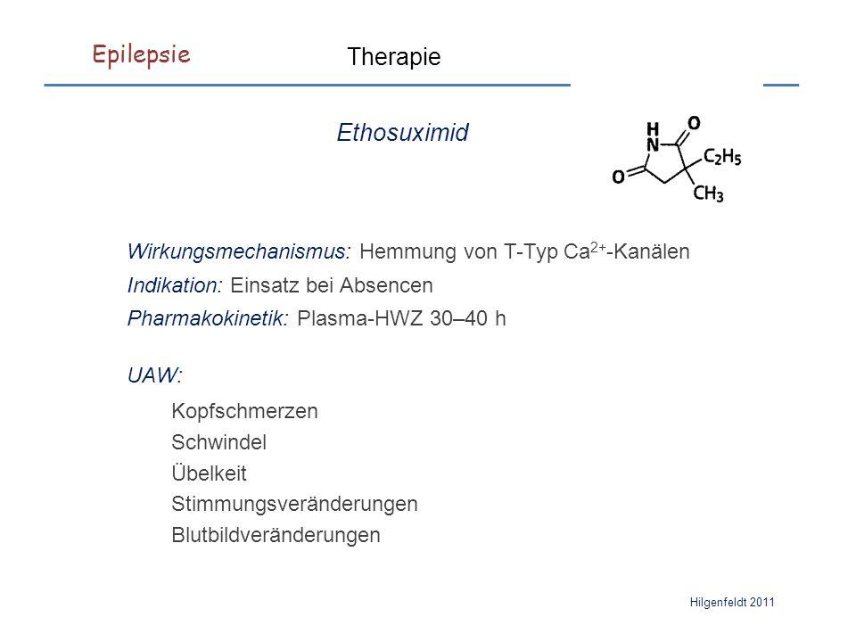 Epilepsie Hilgenfeldt 2011 Therapie Ethosuximid Wirkungsmechanismus: Hemmung von T-Typ Ca 2+ -Kanälen Indikation: Einsatz bei Absencen Pharmakokinetik: Plasma-HWZ 30–40 h UAW: Kopfschmerzen Schwindel Übelkeit Stimmungsveränderungen Blutbildveränderungen