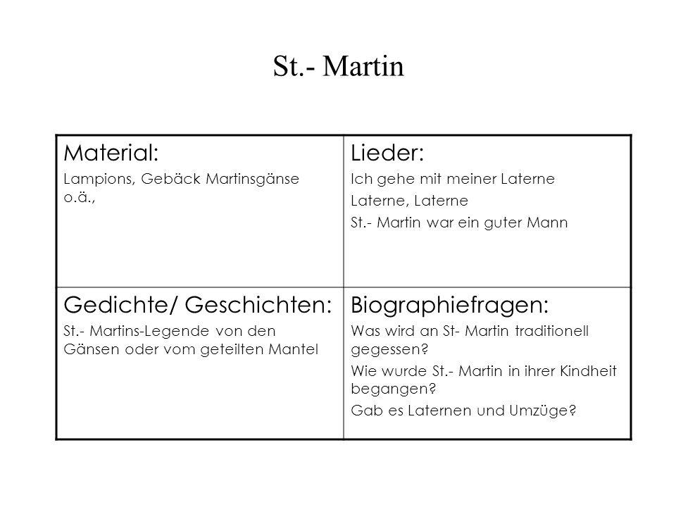 St.- Martin Material: Lampions, Gebäck Martinsgänse o.ä., Lieder: Ich gehe mit meiner Laterne Laterne, Laterne St.- Martin war ein guter Mann Gedichte