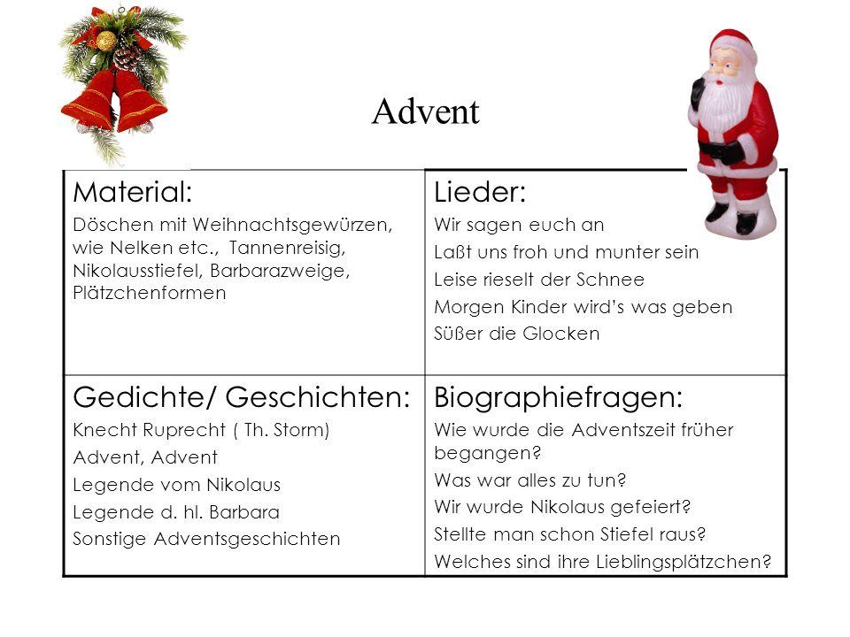 Advent Material: Döschen mit Weihnachtsgewürzen, wie Nelken etc., Tannenreisig, Nikolausstiefel, Barbarazweige, Plätzchenformen Lieder: Wir sagen euch