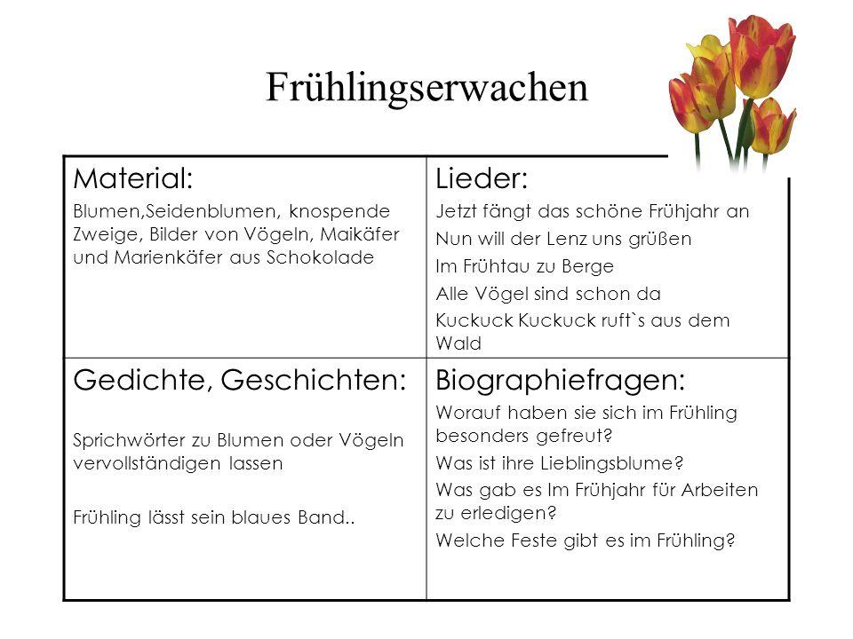 Frühlingserwachen Material: Blumen,Seidenblumen, knospende Zweige, Bilder von Vögeln, Maikäfer und Marienkäfer aus Schokolade Lieder: Jetzt fängt das