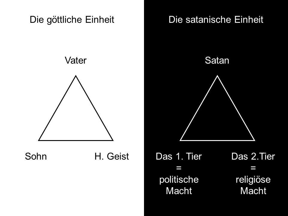 Die göttliche Einheit Vater SohnH. Geist Die satanische Einheit Satan Das 1. Tier = politische Macht Das 2.Tier = religiöse Macht