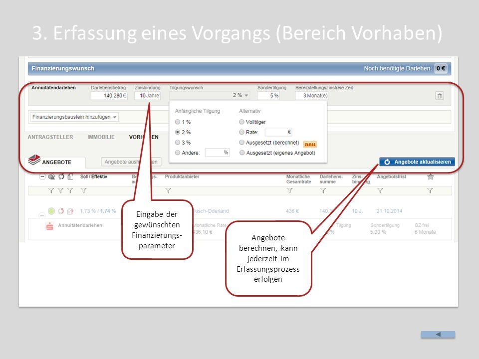 3. Erfassung eines Vorgangs (Bereich Vorhaben) Eingabe der gewünschten Finanzierungs- parameter Angebote berechnen, kann jederzeit im Erfassungsprozes
