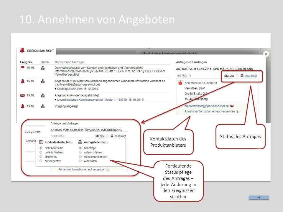 10. Annehmen von Angeboten Kontaktdaten des Produktanbieters Status des Antrages Fortlaufende Status pflege des Antrages – jede Änderung in den Ereign