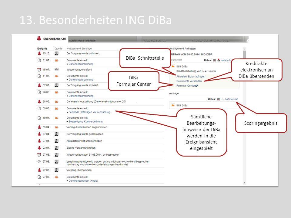 13. Besonderheiten ING DiBa DiBa Schnittstelle Sämtliche Bearbeitungs- hinweise der DiBa werden in die Ereignisansicht eingespielt Scoringergebnis DiB