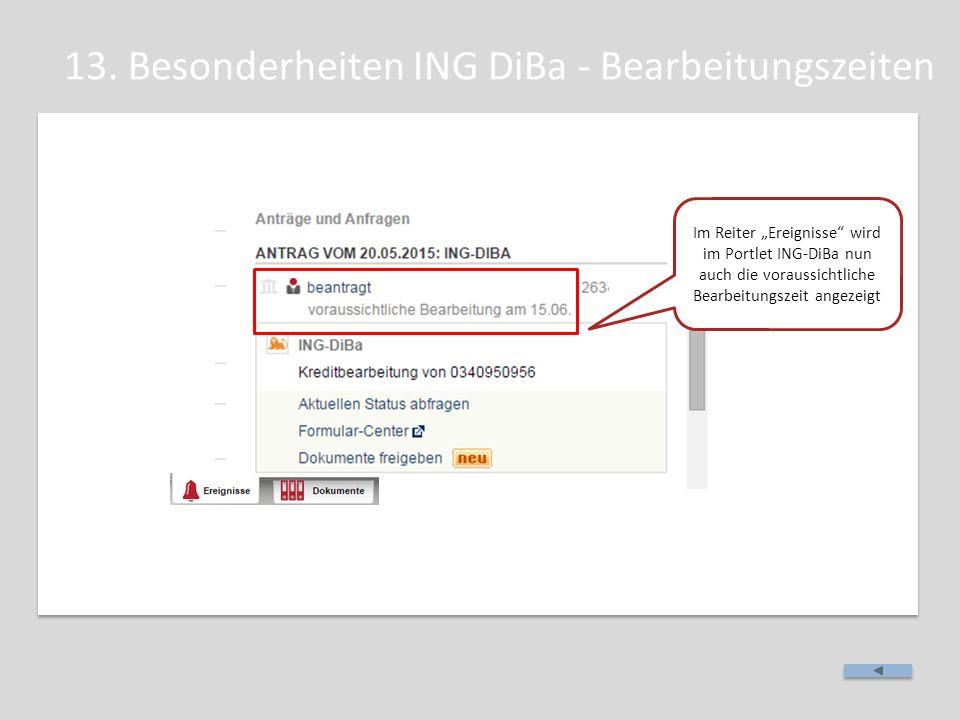 """13. Besonderheiten ING DiBa - Bearbeitungszeiten Im Reiter """"Ereignisse"""" wird im Portlet ING-DiBa nun auch die voraussichtliche Bearbeitungszeit angeze"""