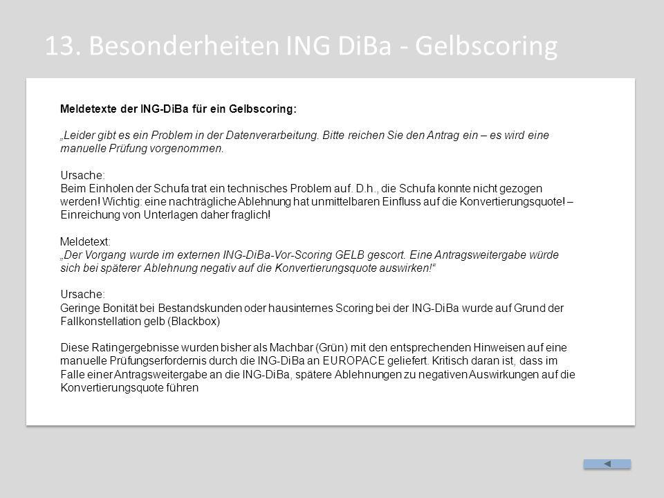 """13. Besonderheiten ING DiBa - Gelbscoring Meldetexte der ING-DiBa für ein Gelbscoring: """"Leider gibt es ein Problem in der Datenverarbeitung. Bitte rei"""