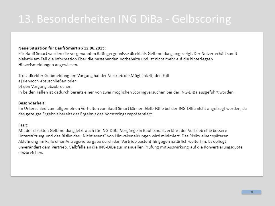 13. Besonderheiten ING DiBa - Gelbscoring Neue Situation für Baufi Smart ab 12.06.2015: Für Baufi Smart werden die vorgenannten Ratingergebnisse direk