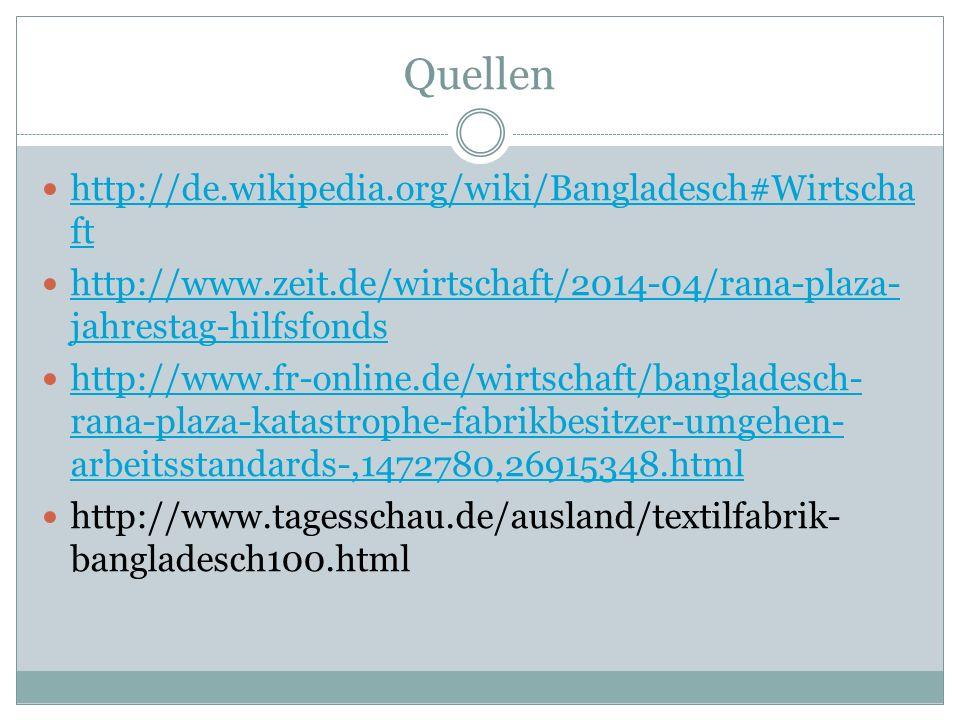 Quellen http://de.wikipedia.org/wiki/Bangladesch#Wirtscha ft http://de.wikipedia.org/wiki/Bangladesch#Wirtscha ft http://www.zeit.de/wirtschaft/2014-04/rana-plaza- jahrestag-hilfsfonds http://www.zeit.de/wirtschaft/2014-04/rana-plaza- jahrestag-hilfsfonds http://www.fr-online.de/wirtschaft/bangladesch- rana-plaza-katastrophe-fabrikbesitzer-umgehen- arbeitsstandards-,1472780,26915348.html http://www.fr-online.de/wirtschaft/bangladesch- rana-plaza-katastrophe-fabrikbesitzer-umgehen- arbeitsstandards-,1472780,26915348.html http://www.tagesschau.de/ausland/textilfabrik- bangladesch100.html