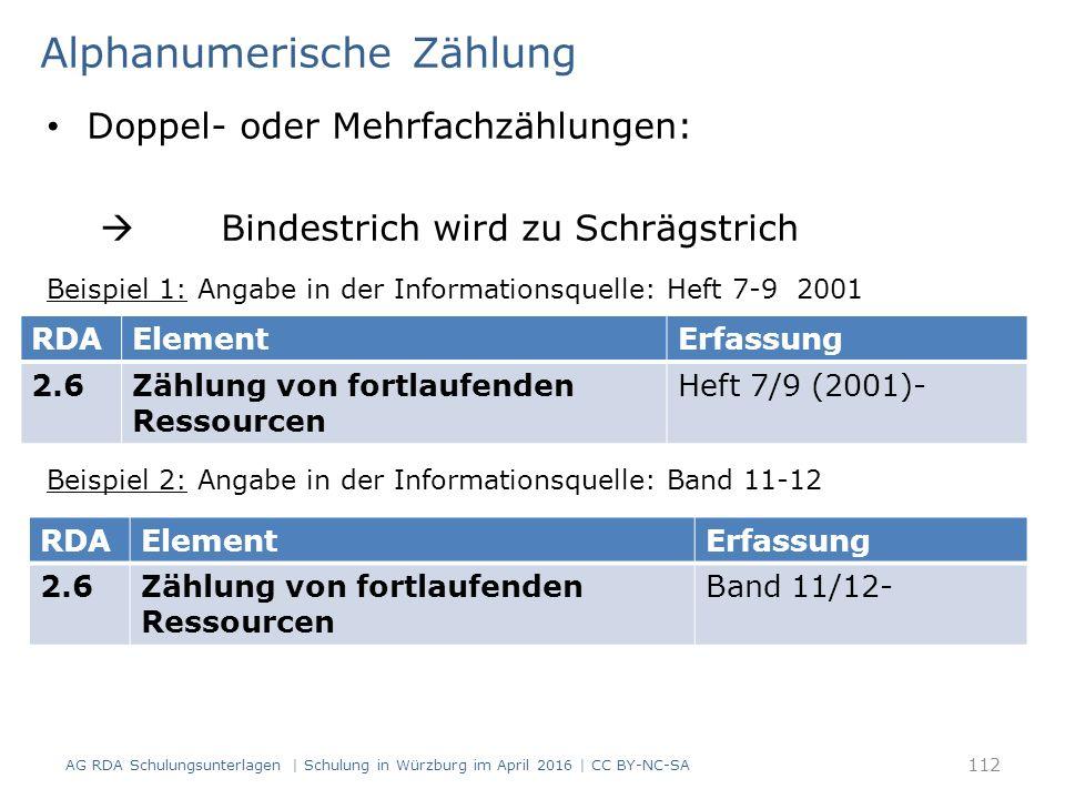Alphanumerische Zählung Doppel- oder Mehrfachzählungen:  Bindestrich wird zu Schrägstrich Beispiel 1: Angabe in der Informationsquelle: Heft 7-9 2001 Beispiel 2: Angabe in der Informationsquelle: Band 11-12 AG RDA Schulungsunterlagen | Schulung in Würzburg im April 2016 | CC BY-NC-SA 112 RDAElementErfassung 2.6Zählung von fortlaufenden Ressourcen Heft 7/9 (2001)- RDAElementErfassung 2.6Zählung von fortlaufenden Ressourcen Band 11/12-