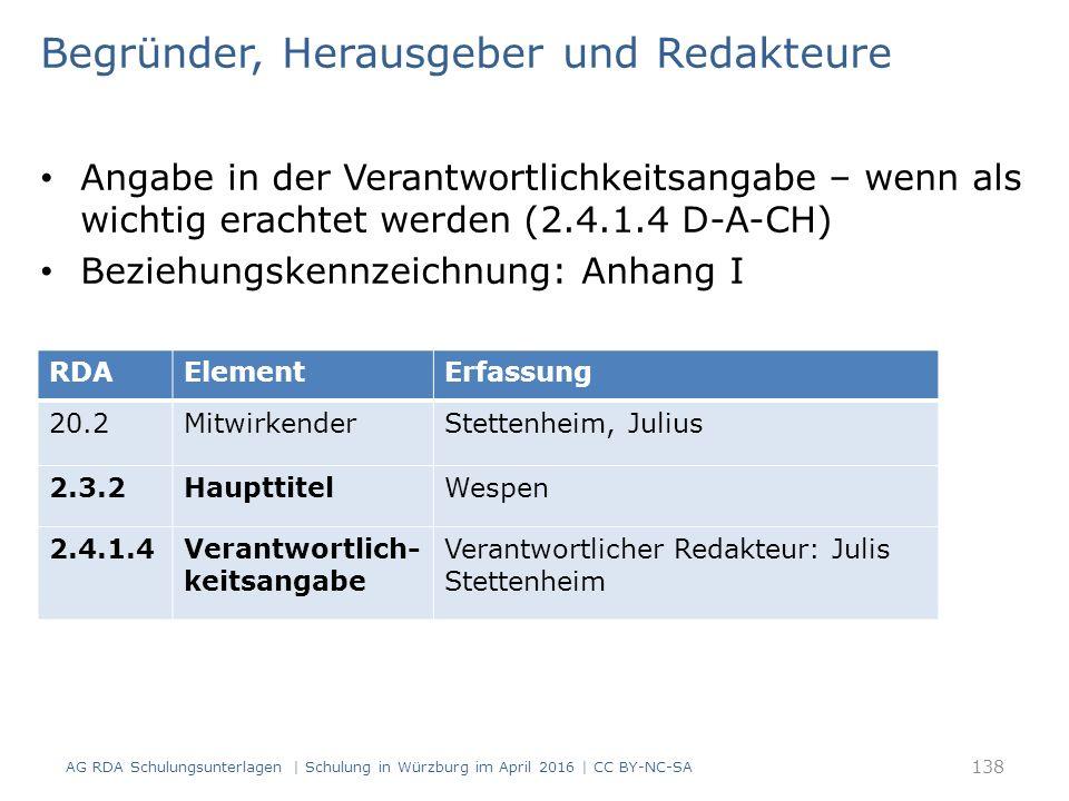 Begründer, Herausgeber und Redakteure Angabe in der Verantwortlichkeitsangabe – wenn als wichtig erachtet werden (2.4.1.4 D-A-CH) Beziehungskennzeichnung: Anhang I RDAElementErfassung 20.2MitwirkenderStettenheim, Julius 2.3.2HaupttitelWespen 2.4.1.4Verantwortlich- keitsangabe Verantwortlicher Redakteur: Julis Stettenheim AG RDA Schulungsunterlagen | Schulung in Würzburg im April 2016 | CC BY-NC-SA 138