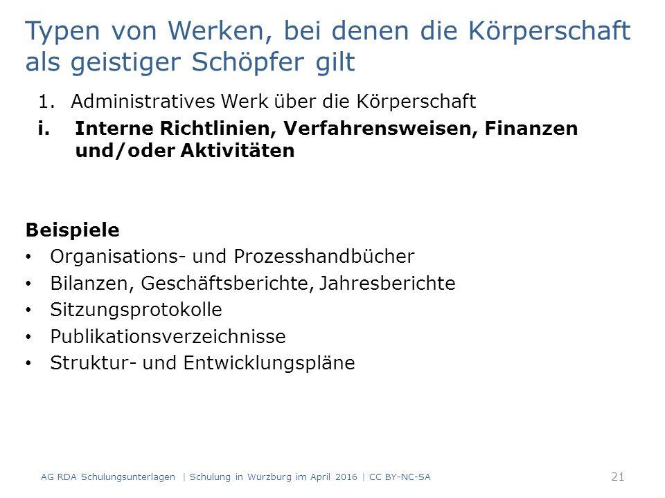 21 Typen von Werken, bei denen die Körperschaft als geistiger Schöpfer gilt 1.Administratives Werk über die Körperschaft i.Interne Richtlinien, Verfahrensweisen, Finanzen und/oder Aktivitäten Beispiele Organisations- und Prozesshandbücher Bilanzen, Geschäftsberichte, Jahresberichte Sitzungsprotokolle Publikationsverzeichnisse Struktur- und Entwicklungspläne AG RDA Schulungsunterlagen | Schulung in Würzburg im April 2016 | CC BY-NC-SA
