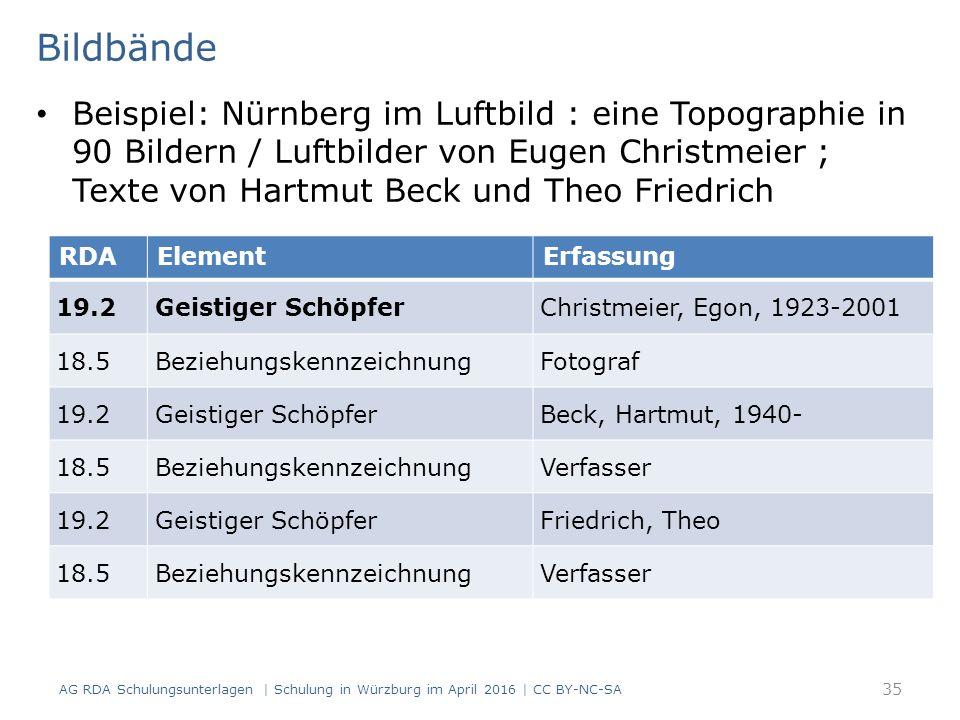 Bildbände Beispiel: Nürnberg im Luftbild : eine Topographie in 90 Bildern / Luftbilder von Eugen Christmeier ; Texte von Hartmut Beck und Theo Friedrich RDAElementErfassung 19.2Geistiger SchöpferChristmeier, Egon, 1923-2001 18.5BeziehungskennzeichnungFotograf 19.2Geistiger SchöpferBeck, Hartmut, 1940- 18.5BeziehungskennzeichnungVerfasser 19.2Geistiger SchöpferFriedrich, Theo 18.5BeziehungskennzeichnungVerfasser AG RDA Schulungsunterlagen | Schulung in Würzburg im April 2016 | CC BY-NC-SA 35