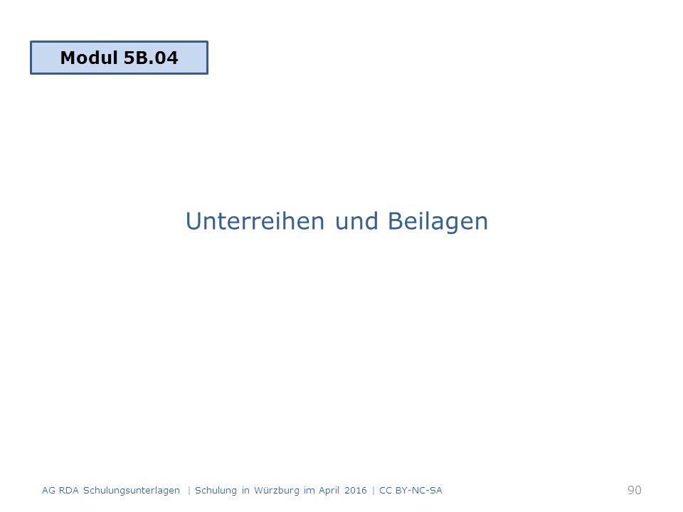 Unterreihen und Beilagen AG RDA Schulungsunterlagen | Schulung in Würzburg im April 2016 | CC BY-NC-SA 90 Modul 5B.04