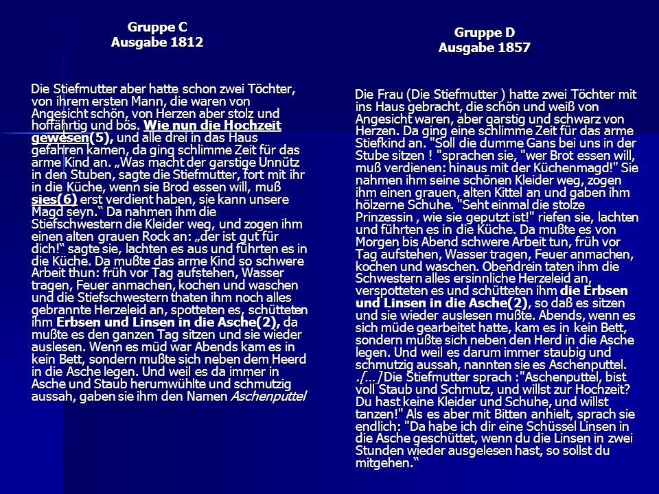 Gruppe C Ausgabe 1812 Die Stiefmutter aber hatte schon zwei Töchter, von ihrem ersten Mann, die waren von Angesicht schön, von Herzen aber stolz und hoffährtig und bös.