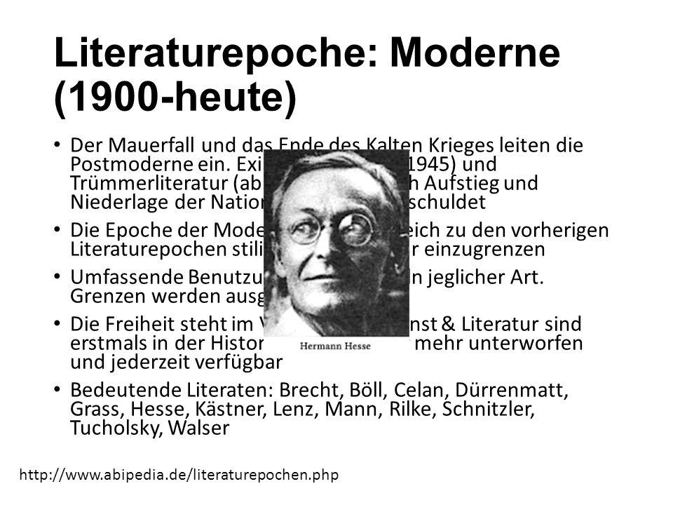Literaturepoche: Moderne (1900-heute) Der Mauerfall und das Ende des Kalten Krieges leiten die Postmoderne ein. Exilliteratur (1933-1945) und Trümmerl