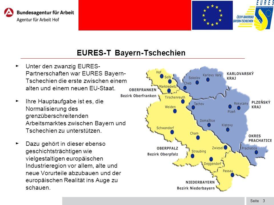 Seite EURES-T Bayern-Tschechien ► Unter den zwanzig EURES- Partnerschaften war EURES Bayern- Tschechien die erste zwischen einem alten und einem neuen EU-Staat.