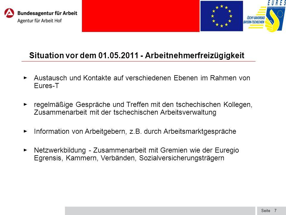 Seite8 Situationsbeschreibung und Einschätzung vor dem 01.05.2011 - Arbeitnehmerfreizügigkeit ► Tschechische Bürger empfanden die immer wieder verschobene Arbeitnehmerfreizügigkeit in Deutschland und Österreich (2+3+2 Regelung) als diskriminierend, fühlten sich als Europäer 2.