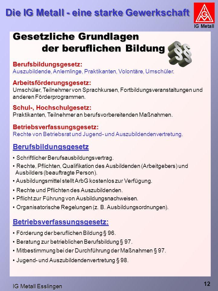 IG Metall Esslingen Die IG Metall - eine starke Gewerkschaft IG Metall 12 Gesetzliche Grundlagen der beruflichen Bildung Berufsbildungsgesetz: Auszubildende, Anlernlinge, Praktikanten, Volontäre, Umschüler.
