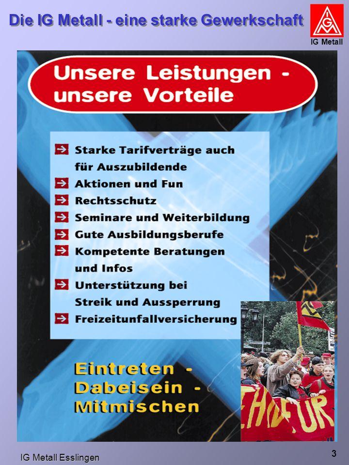 IG Metall Esslingen Die IG Metall - eine starke Gewerkschaft IG Metall 4 Rechtsschutz Rechtsschutz Der DGB hat für Gewerkschafts-Mitglieder im Jahr 2001 insgesamt 725 Mio.