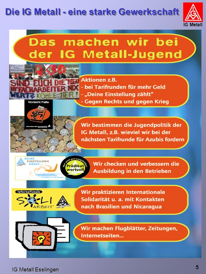 IG Metall Esslingen Die IG Metall - eine starke Gewerkschaft IG Metall 16 GG Betriebsvereinbarung Arbeitsvertrag Gesetz Tarifvertrag Verordnung Die Rangfolge der Rechtsvorschriften