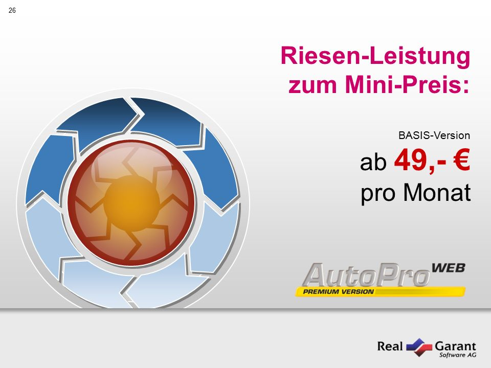 26 Riesen-Leistung zum Mini-Preis: BASIS-Version ab 49,- € pro Monat