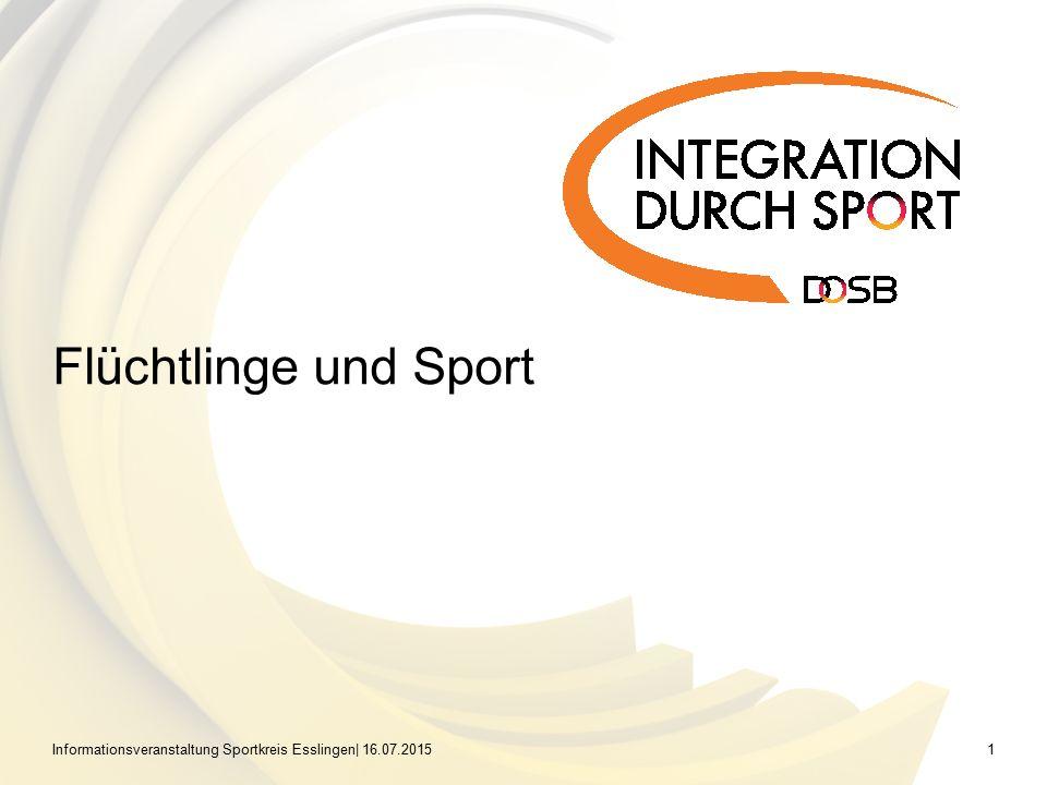 Informationsveranstaltung Sportkreis Esslingen| 16.07.20151 Flüchtlinge und Sport