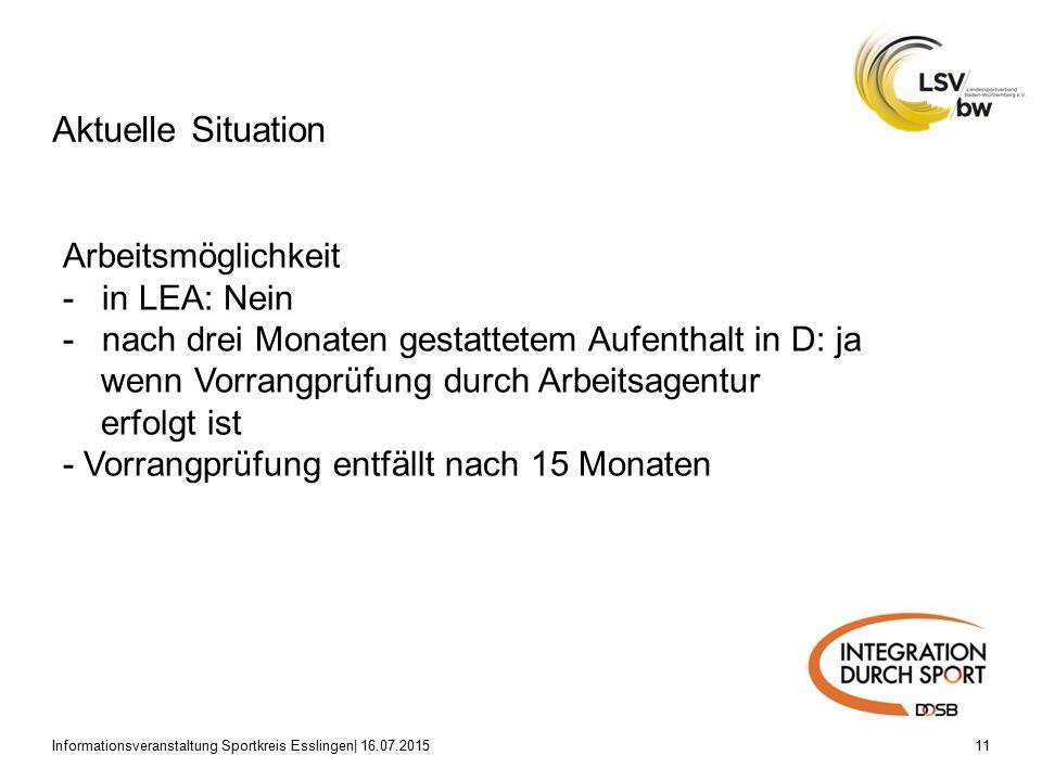 Aktuelle Situation Informationsveranstaltung Sportkreis Esslingen| 16.07.201511 Arbeitsmöglichkeit -in LEA: Nein -nach drei Monaten gestattetem Aufenthalt in D: ja wenn Vorrangprüfung durch Arbeitsagentur erfolgt ist - Vorrangprüfung entfällt nach 15 Monaten