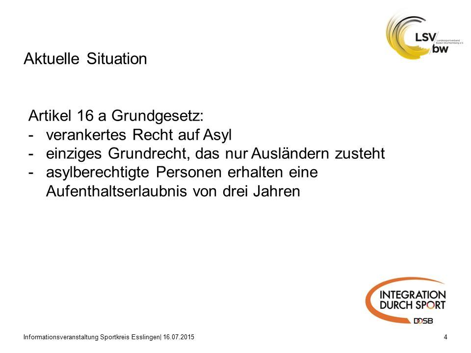 Aktuelle Situation Informationsveranstaltung Sportkreis Esslingen| 16.07.20154 Artikel 16 a Grundgesetz: -verankertes Recht auf Asyl -einziges Grundrecht, das nur Ausländern zusteht -asylberechtigte Personen erhalten eine Aufenthaltserlaubnis von drei Jahren