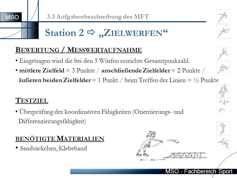 """MSO - Fachbereich Sport Station 2  """"Z IELWERFEN B EWERTUNG / M ESSWERTAUFNAHME Eingetragen wird die bei den 5 Würfen erreichte Gesamtpunkzahl."""