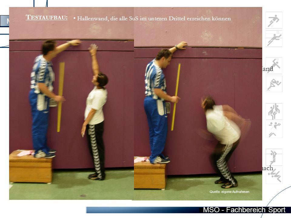 """MSO - Fachbereich Sport Station 4  """"S TANDHOCHSPRINGEN A UFGABE Die Versuchsperson soll aus dem Stand möglichst hoch springen und dabei mit einer Hand den höchsten Punkt markieren."""