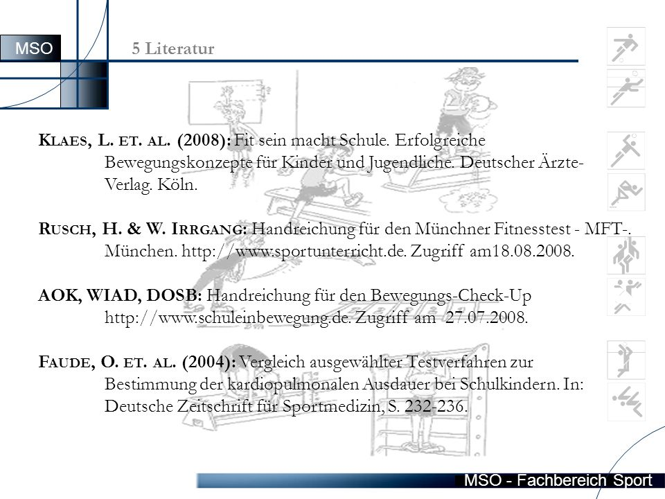 MSO - Fachbereich Sport 5 Literatur K LAES, L. ET.