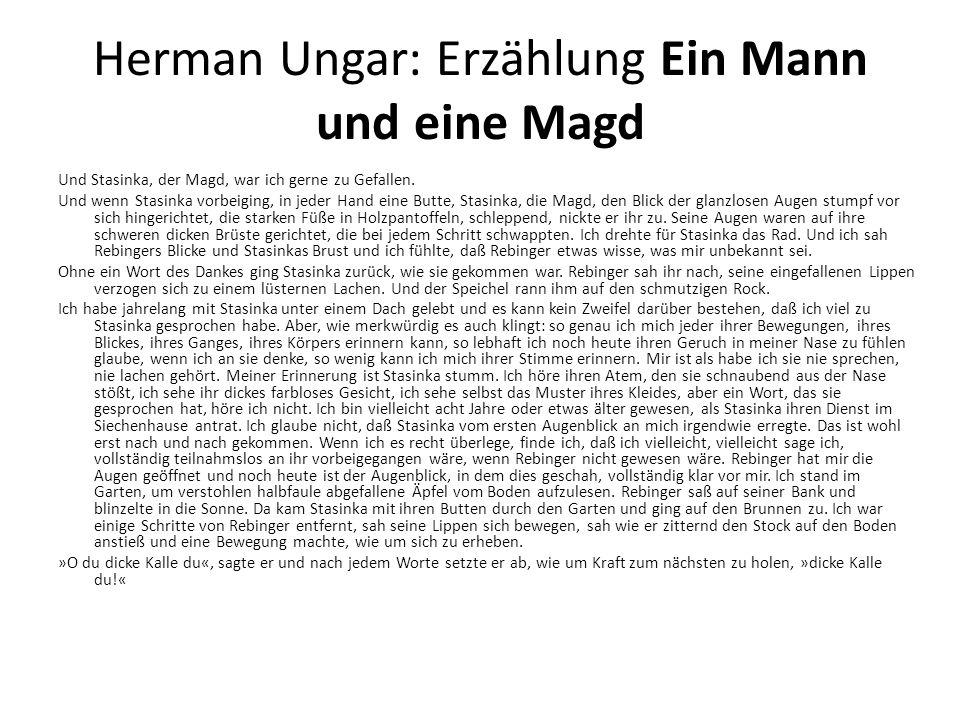 Herman Ungar: Erzählung Ein Mann und eine Magd Und Stasinka, der Magd, war ich gerne zu Gefallen.