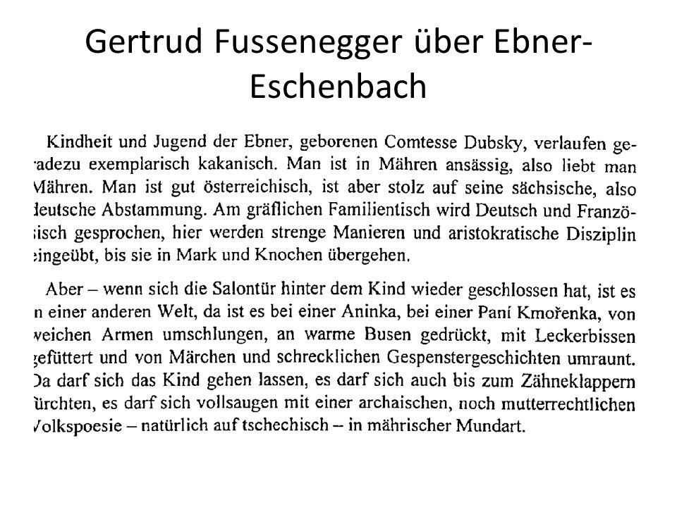 Gertrud Fussenegger über Ebner- Eschenbach