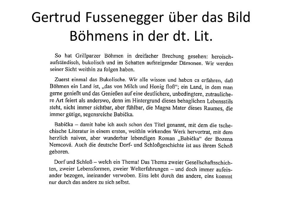 Gertrud Fussenegger über das Bild Böhmens in der dt. Lit.