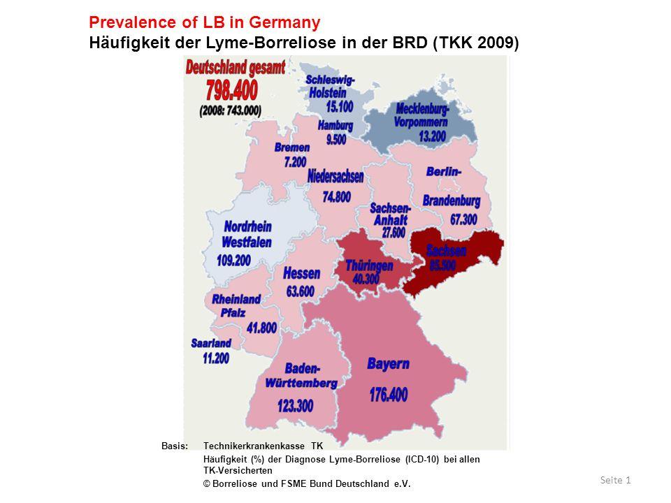 Seite 1 Basis:Technikerkrankenkasse TK Häufigkeit (%) der Diagnose Lyme-Borreliose (ICD-10) bei allen TK-Versicherten © Borreliose und FSME Bund Deuts