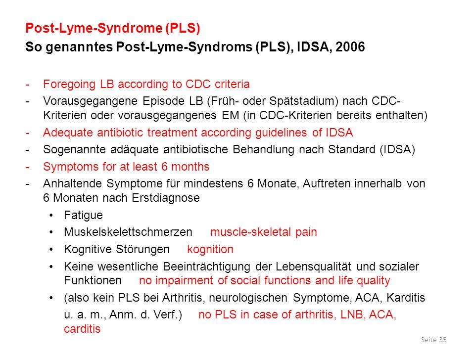 Post-Lyme-Syndrome (PLS) So genanntes Post-Lyme-Syndroms (PLS), IDSA, 2006 -Foregoing LB according to CDC criteria -Vorausgegangene Episode LB (Früh-