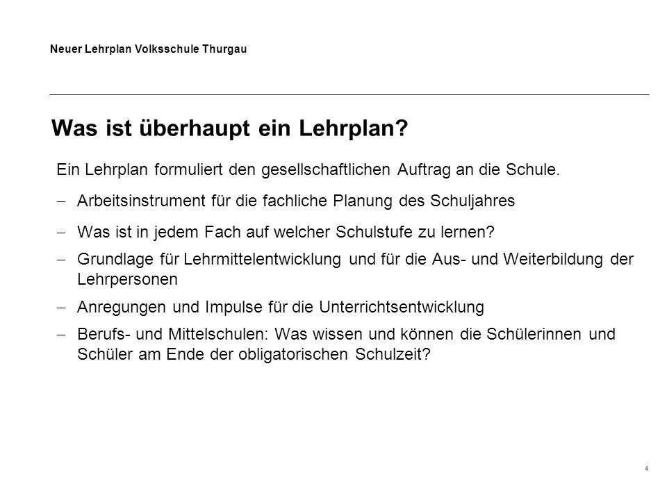 Neuer Lehrplan Volksschule Thurgau 4 Was ist überhaupt ein Lehrplan? Ein Lehrplan formuliert den gesellschaftlichen Auftrag an die Schule.  Arbeitsin