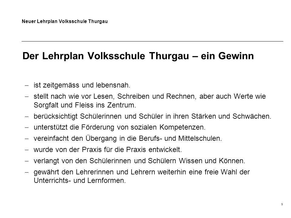 Neuer Lehrplan Volksschule Thurgau 9 Der Lehrplan Volksschule Thurgau – ein Gewinn  ist zeitgemäss und lebensnah.  stellt nach wie vor Lesen, Schrei