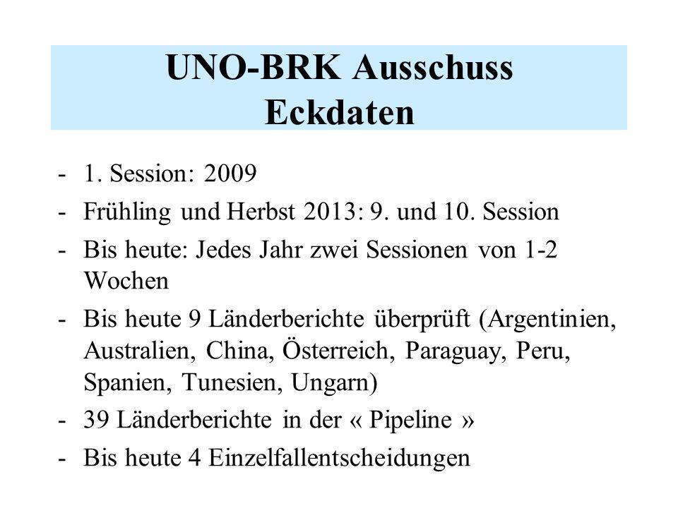 UNO-BRK Ausschuss Eckdaten -1. Session: 2009 -Frühling und Herbst 2013: 9.