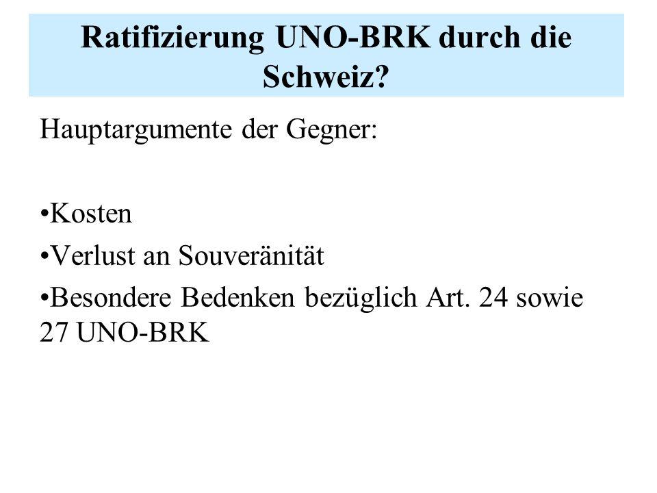Ratifizierung UNO-BRK durch die Schweiz.