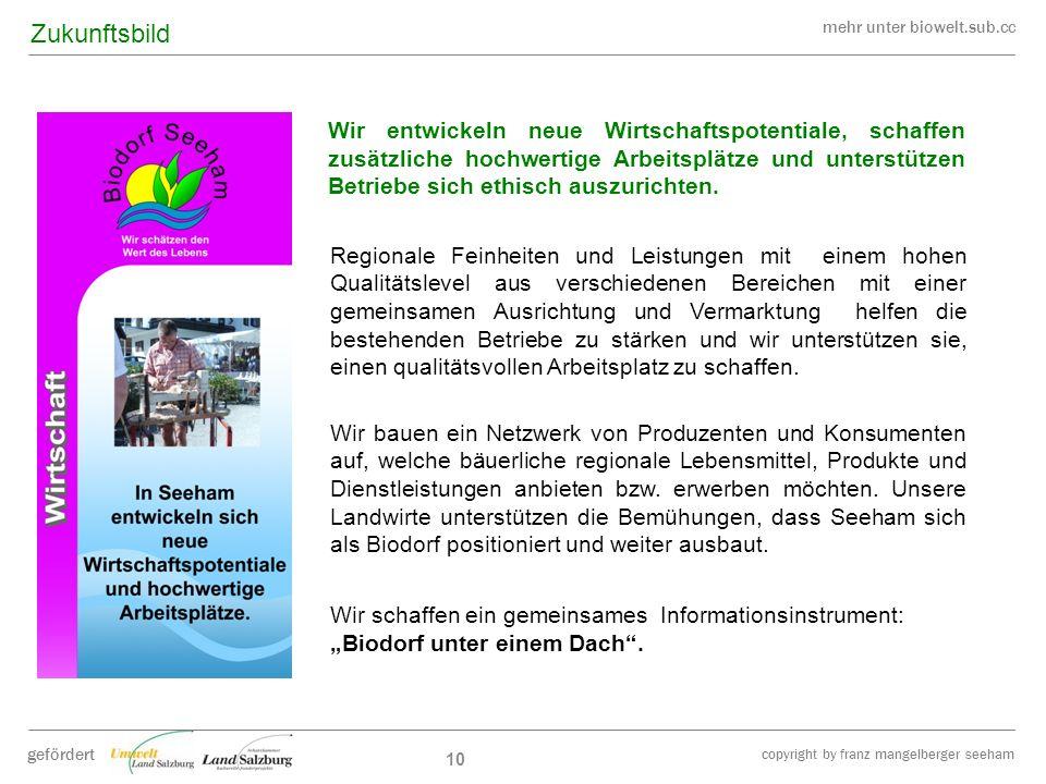 mehr unter biowelt.sub.cc gefördert copyright by franz mangelberger seeham 10 Wir entwickeln neue Wirtschaftspotentiale, schaffen zusätzliche hochwert