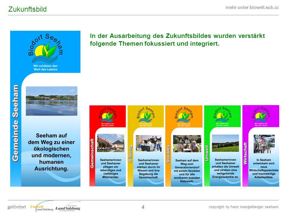 mehr unter biowelt.sub.cc gefördert copyright by franz mangelberger seeham 4 In der Ausarbeitung des Zukunftsbildes wurden verstärkt folgende Themen f