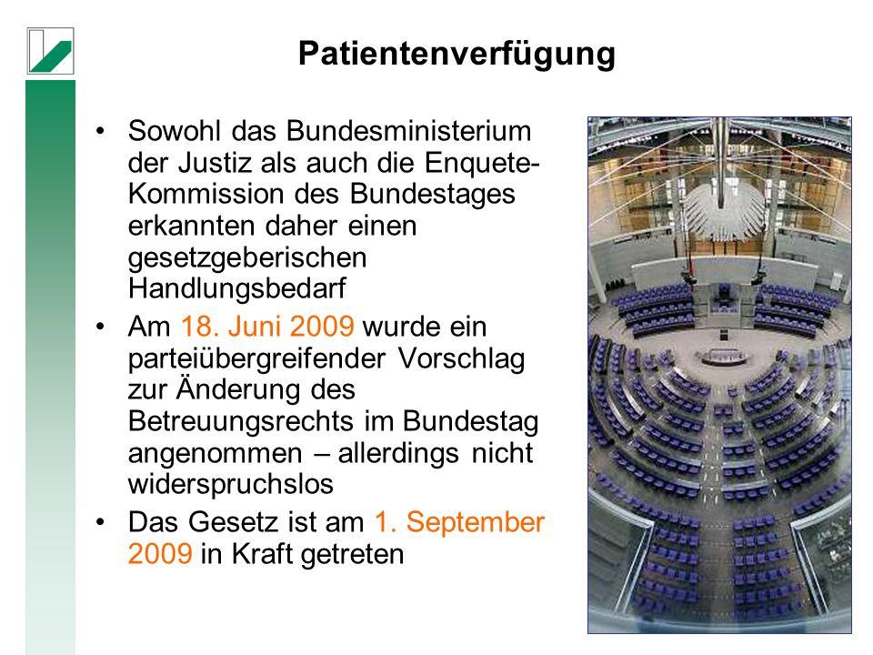 Sowohl das Bundesministerium der Justiz als auch die Enquete- Kommission des Bundestages erkannten daher einen gesetzgeberischen Handlungsbedarf Am 18.