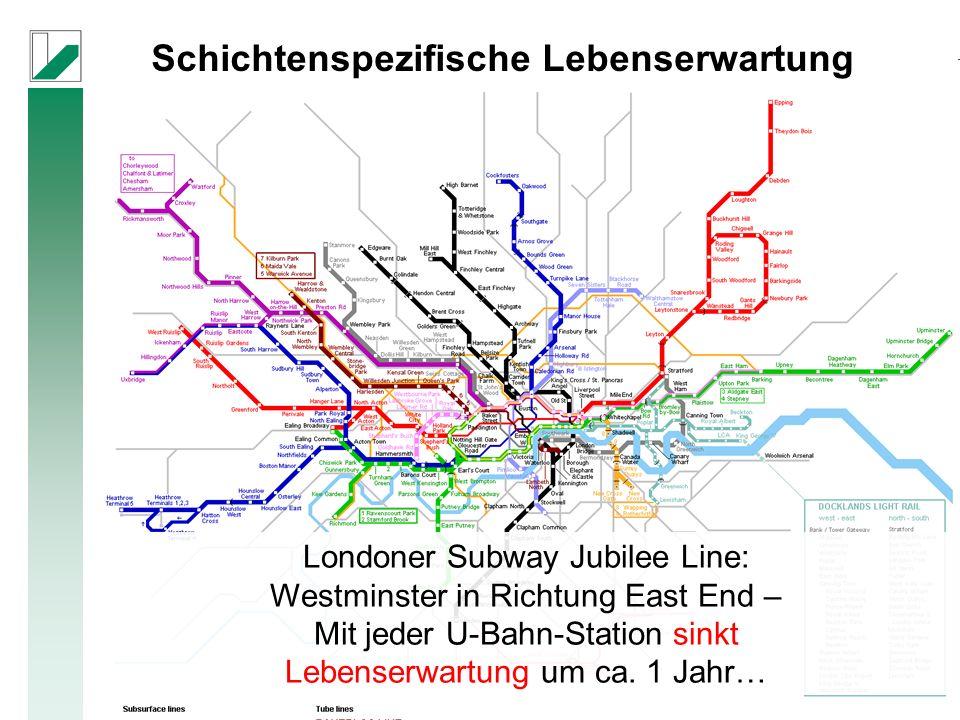 Londoner Subway Jubilee Line: Westminster in Richtung East End – Mit jeder U-Bahn-Station sinkt Lebenserwartung um ca.