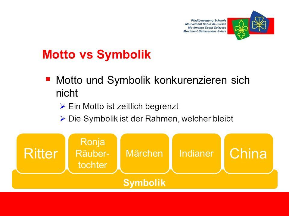 Symbolik Motto vs Symbolik  Motto und Symbolik konkurenzieren sich nicht  Ein Motto ist zeitlich begrenzt  Die Symbolik ist der Rahmen, welcher bleibt Ritter Ronja Räuber- tochter MärchenIndianer China