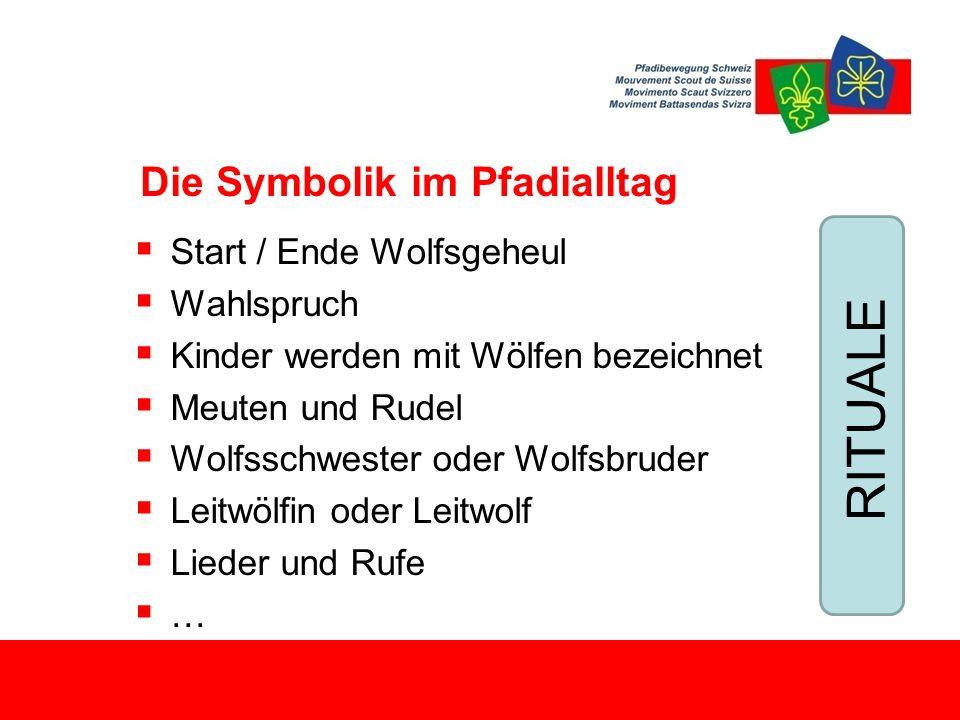Die Symbolik im Pfadialltag  Start / Ende Wolfsgeheul  Wahlspruch  Kinder werden mit Wölfen bezeichnet  Meuten und Rudel  Wolfsschwester oder Wolfsbruder  Leitwölfin oder Leitwolf  Lieder und Rufe  … RITUALE