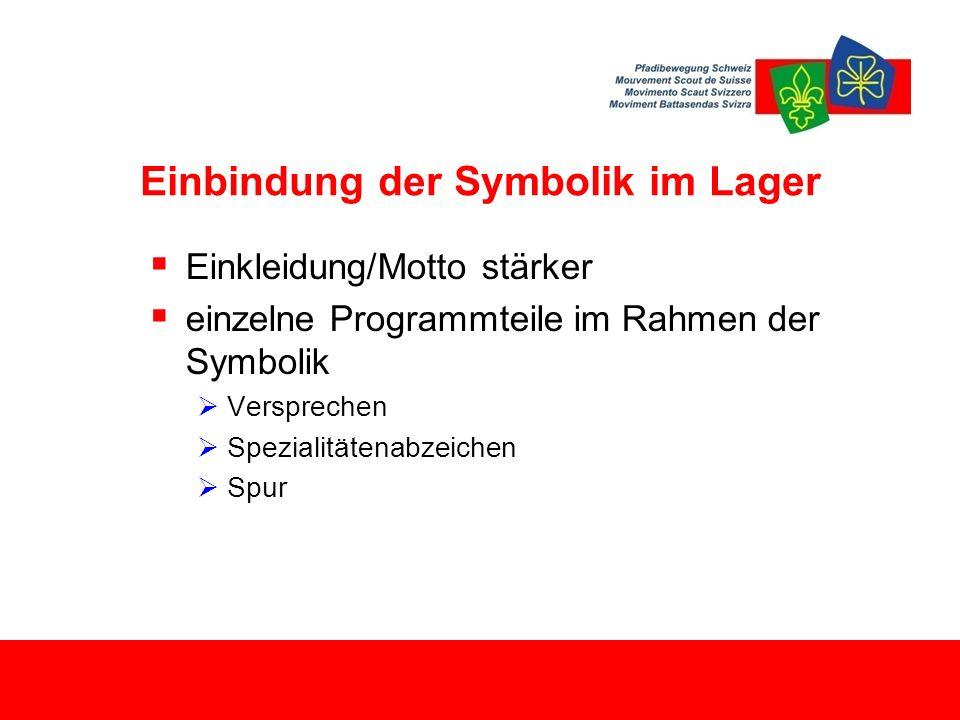 Einbindung der Symbolik im Lager  Einkleidung/Motto stärker  einzelne Programmteile im Rahmen der Symbolik  Versprechen  Spezialitätenabzeichen  Spur