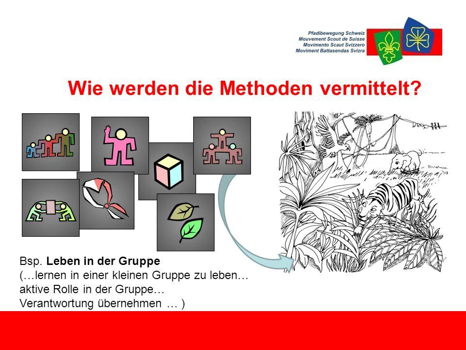 Wie werden die Methoden vermittelt? Bsp. Leben in der Gruppe (…lernen in einer kleinen Gruppe zu leben… aktive Rolle in der Gruppe… Verantwortung über