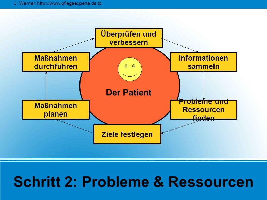 J. Werner: httw://www.pflegeexperte.de.to Schritt 2: Probleme & Ressourcen Überprüfen und verbessern Maßnahmen planen Maßnahmen durchführen Probleme u